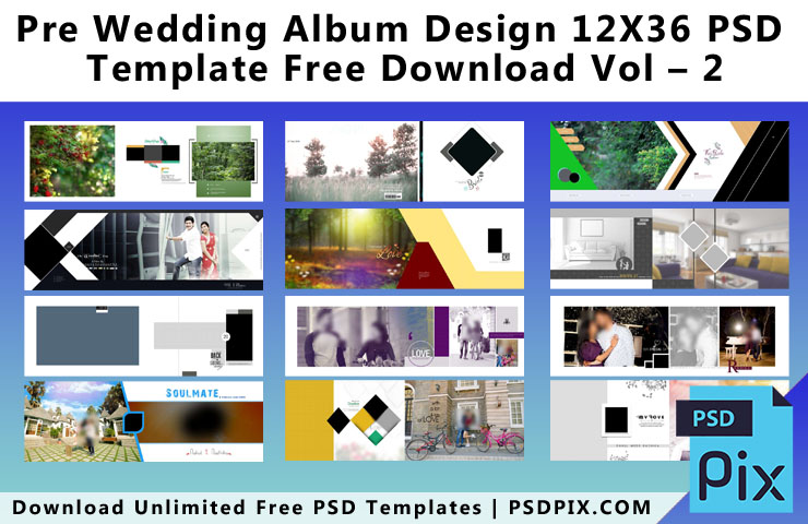 Pre Wedding Album Design 12X36 PSD Template Free Download Vol - 2