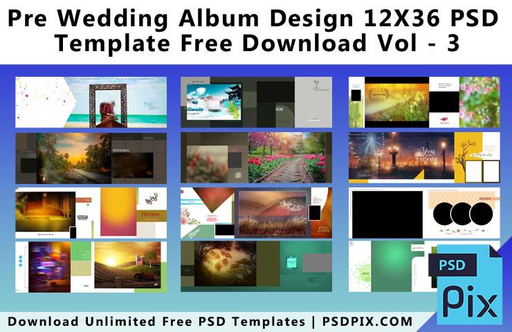 Pre Wedding Album Design 12X36 PSD Template Free Download Vol - 3