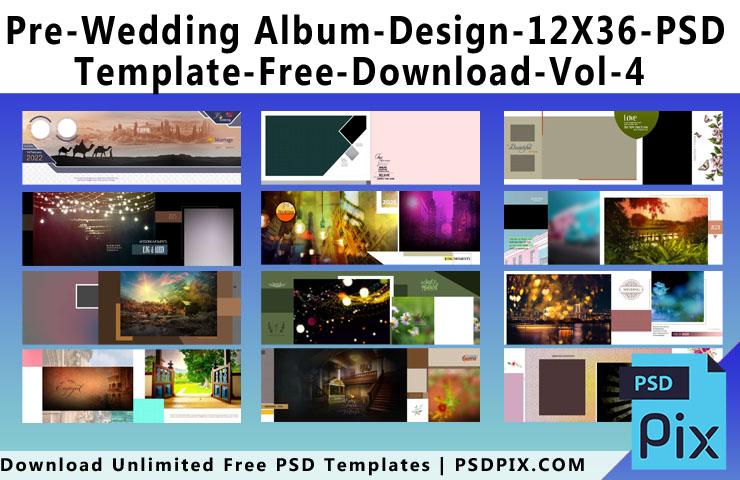 Pre Wedding Album Design 12X36 PSD Template Free Download Vol - 4