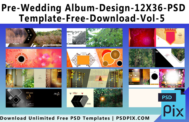 Pre Wedding Album Design 12X36 PSD Template Free Download Vol - 5