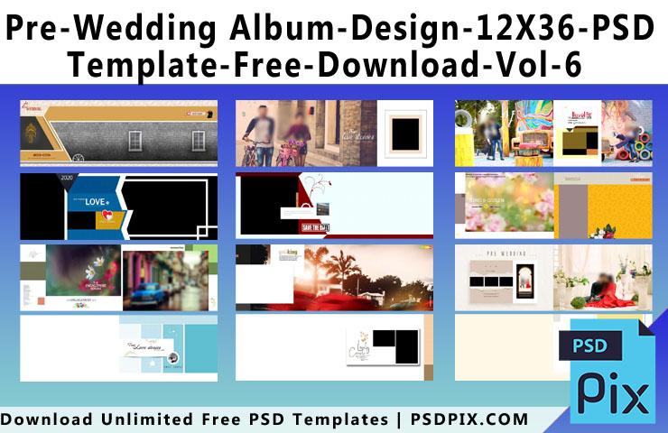 Pre Wedding Album Design 12X36 PSD Template Free Download